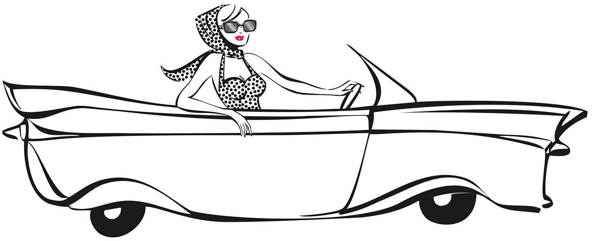 Femme en auto arborant les lunettes et foulard de style HelloDoris